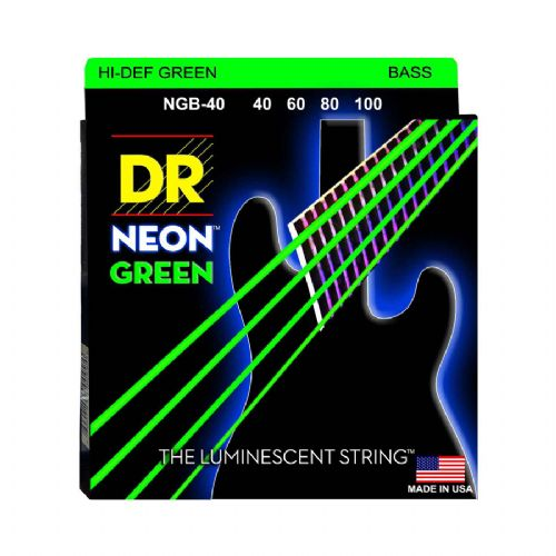 DR Strings NGB-40 Hi-Def neon green bas-strenge, 040-100