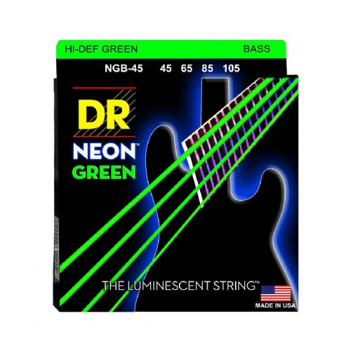 DR Strings NGB-45 Hi-Def neon green bas-strenge, 045-105