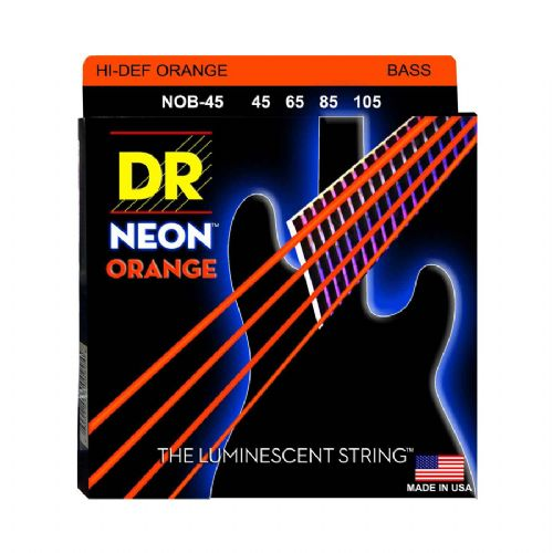 DR Strings NOB-45 Hi-Def neon orange bas-strenge, 045-105