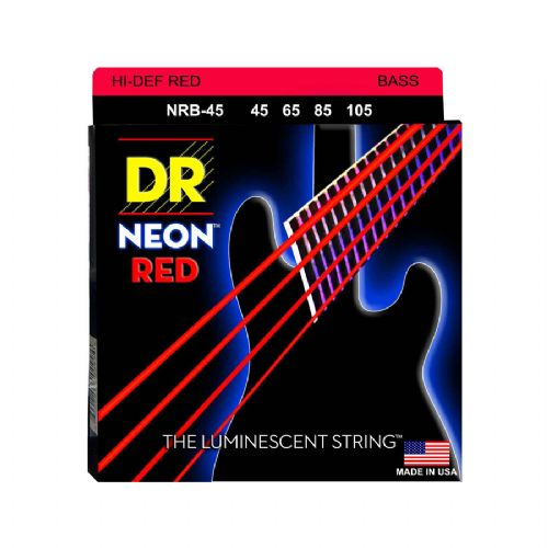 DR Strings NRB-45 Hi-Def neon red bas-strenge, 045-105